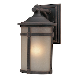 One Light Rich Bronze Carmelized Linen Glass Wall Lantern