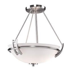 Two Light Polished Nickel Opal Glass Bowl Semi-Flush Mount
