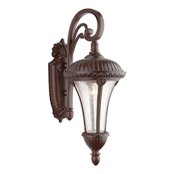 Three Light Seeded Clear Glass Mahogany Wall Lantern