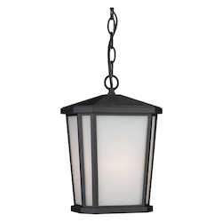 One Light Black Interior-White, Outer-Etched Glass Hanging Lantern