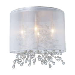 Four Light Chrome Organza Shade Drum Shade Semi-Flush Mount