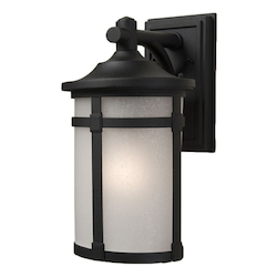 One Light Black White Linen Glass Wall Lantern