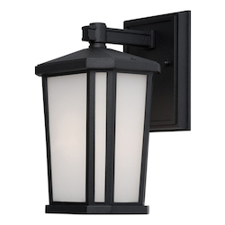One Light Black Interior-White, Outer-Etched Glass Wall Lantern