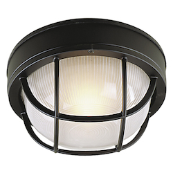 Open Box Matte Black Bulkheads 1 Light Outdoor Wall Sconce - 8 Inches Wide
