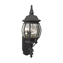 Open Box Matte Black French Style 3 Light Outdoor Wall Sconce - 8 Inches Wide