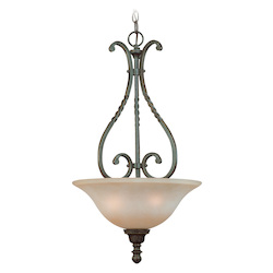 Jeremiah Three Light English Toffee Faux Alabaster Shade Up Pendant - 22423-ET