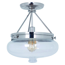 Jeremiah One Light Polished Nickel Antique Clear Glass Bowl Semi-Flush Mount - 35051-PLN
