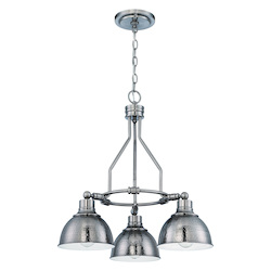 Jeremiah Three Light Antique Nickel Hammered Metal Shade Down Chandelier - 35923-AN