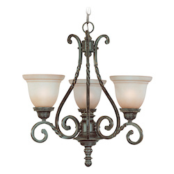 Jeremiah Three Light English Toffee Faux Alabaster Shade Up Chandelier - 22443-ET