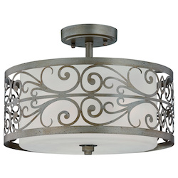 Jeremiah Three Light Athenian Obol Frosted Glass Drum Shade Semi-Flush Mount - 35853-AO