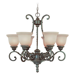 Jeremiah Six Light English Toffee Faux Alabaster Shade Up Chandelier - 22426-ET