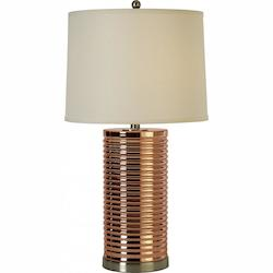 One Light Brushed Nickel Rose Gold Glass Table Lamp - Trend Lighting BT6733