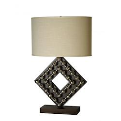 One Light Espresso/Stainless Steel Cream Linen Shade Table Lamp - Trend Lighting TT5072
