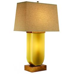 One Light Antique Gold Sage Glass Barley Linen Shade Table Lamp - Trend Lighting TT6972