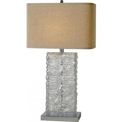One Light Polished Chrome Latte Linen Shade Clear Glass Table Lamp - Trend Lighting TT7948