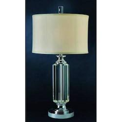 One Light Polished Chrome Ivory Silk Shade Table Lamp - Trend Lighting TT8700