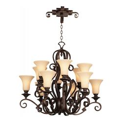 Twelve Light Antique Copper Gold-Streaked Amber Glass Up Chandelier