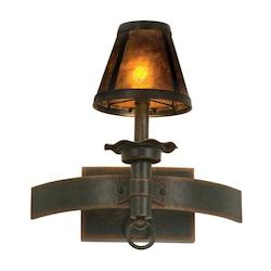 One Light Antique Copper Mica Glass Wall Light