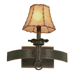 One Light Antique Copper Champagne Mica Shade Glass Wall Light