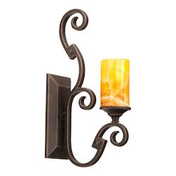 One Light Copper Claret Iridescent Shell Glass Wall Light