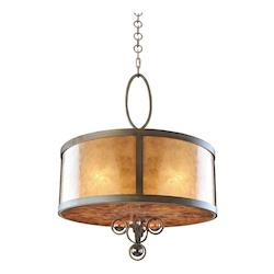 Five Light Antique Brass Drum Shade Pendant - Kalco 6556AB