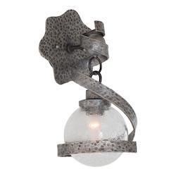 One Light Hammered Silver Wall Light - Kalco 7271HS