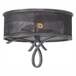 Two Light Vintage Iron Drum Shade Flush Mount - Kalco 7527VI