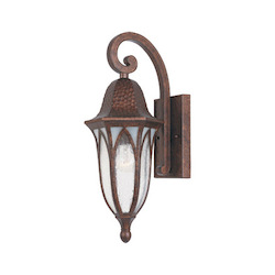 Designers Fountain One Light Burnished Antique Copper Clear & Frosted Seedy Glass Wall Lantern - 20611-BAC
