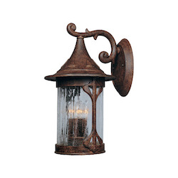Designers Fountain Four Light Chestnut Aged Crackle Optic Glass Wall Lantern - 20931-CHN