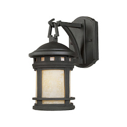 Designers Fountain One Light Oil Rubbed Bronze Amber Glass Wall Lantern - 2370-AM-ORB