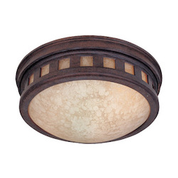 Designers Fountain Two Light Mediterranean Patina Amber Glass Drum Shade Flush Mount - 2375-AM-MP