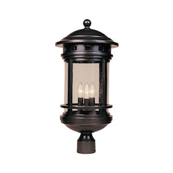 Oil Rubbed Bronze w/seedy 3 Light 11in. Cast Aluminum Post Lantern from the Sedona Collection