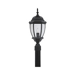 Designers Fountain One Light Black Clear Glass Post Light - 2436-BK