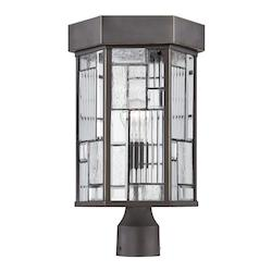 Designers Fountain One Light Aged Bronze Patina Clear, Seedy & Ribbed Glass Post Light - 32136-ABP