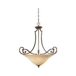 Forged Sienna Three Light Down Lighting Bowl Pendant from the Mendocino Collection