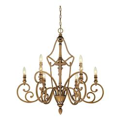 Aged Brass Isla 9 Light 2 Tier Candle Style Chandelier