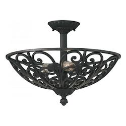 Natural Iron 3 Light Semi Flush from the Toledo Collection
