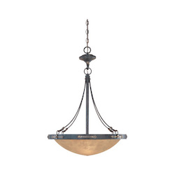 Weathered Saddle Three Light Down Lighting Bowl Pendant from the Austin Collection