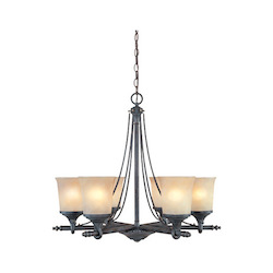 Weathered Saddle Six Light Up Lighting Chandelier from the Austin Collection