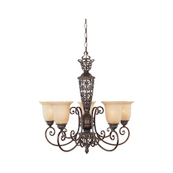 Burnt Umber Five Light Up Lighting Chandelier from the Amherst Collection