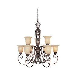 Burnt Umber Nine Light Up Lighting Two Tier Chandelier from the Amherst Collection