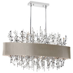 7LT Horizontal Crystal Chndelier with Pebble Shade - 178516