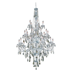 Royal Cut Smoky Golden Teak Crystal Verona 25-Light, Three-Tier Crystal Chandelier, Finished in Chrome with Smoky Golden Teak Crystals