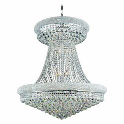 Elegant Lighting 1800G36Sc/Rc Royal Cut Clear Crystal Primo 28-Light, Two-Tier Crystal Chandelier, Finished In Chrome With Clear Crystals
