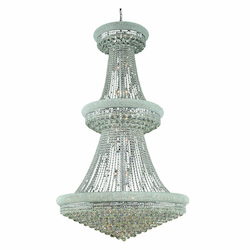 Elegant Lighting 1800G42C/Rc Royal Cut Clear Crystal Primo 38-Light, Three-Tier Crystal Chandelier, Finished In Chrome With Clear Crystals