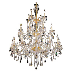 Elegant Lighting 7829G45G/Rc Royal Cut Clear Crystal Alexandria 24-Light, Three-Tier Crystal Chandelier, Finished In Gold With Clear Crystals
