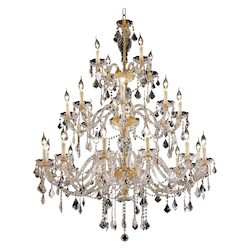 Elegant Lighting 7831G45G/Rc Royal Cut Clear Crystal Alexandria 24-Light, Three-Tier Crystal Chandelier, Finished In Gold With Clear Crystals