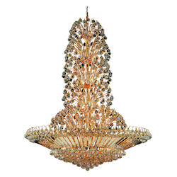 Elegant Lighting 2908G48G/Rc Royal Cut Clear Crystal Sirius 43-Light, Four-Tier Crystal Chandelier, Finished In Gold With Clear Crystals