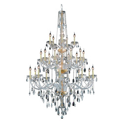 Elegant Lighting 7925G43G/Rc Royal Cut Clear Crystal Verona 25-Light, Three-Tier Crystal Chandelier, Finished In Gold With Clear Crystals