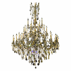 Royal Cut Smoky Golden Teak Crystal Rosalia 45-Light, Three-Tier Crystal Chandelier, Finished in Antique Bronze with Smoky Golden Teak Crystals